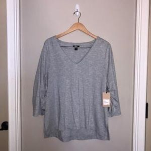 Gray Top with Smock Detail Under Sleeves